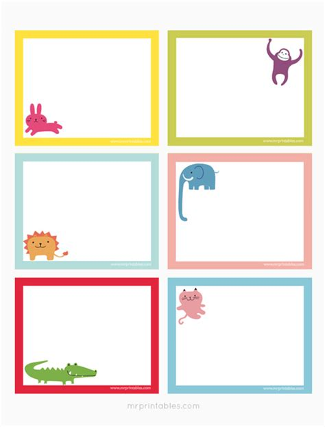 Printable Blank Note Cards | animals printable note cards mr printables