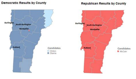 primary map vermont primary maps obama and mccain win vermont primary political maps