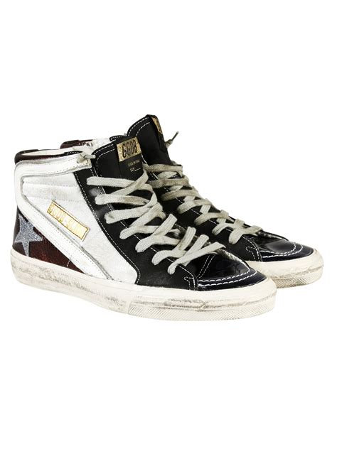 golden goose high top sneakers golden goose deluxe brand white slide hi top sneakers lyst