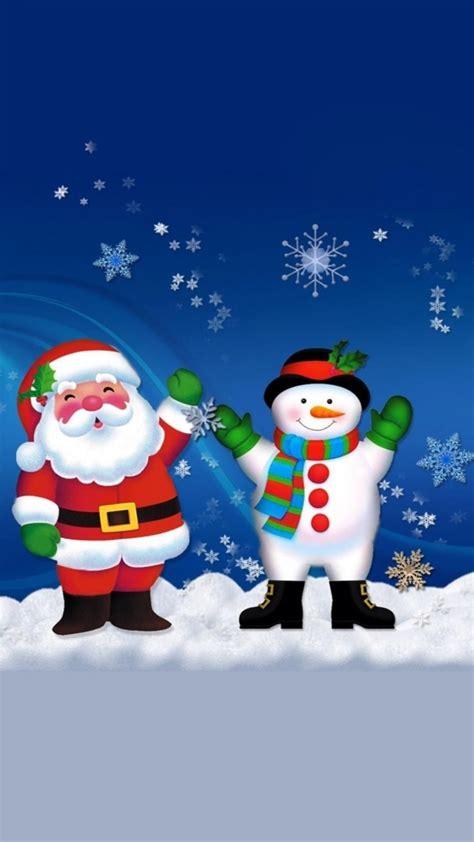 merry christmas santa claus  snowman iphone   wallpaper merry christmas wallpaper