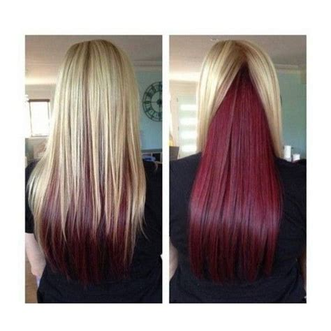 hairstyles with highlights underneath medium blonde hair with red highlights underneath liked on