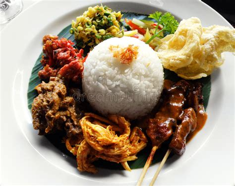 ethnic asian food nasi campur royalty  stock
