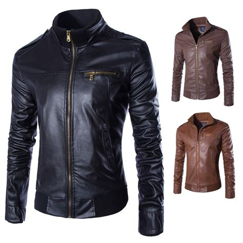Jaket Zipper 2 From Tribun Padang With s stand collar faux leather zipper motorcycle jacket