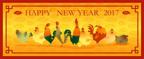 new year 2017 chicken 2017 happy new year with chicken banner vector 02 vector
