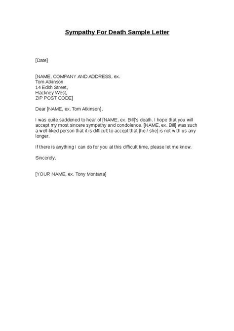 sle business letter of condolence sle business letter