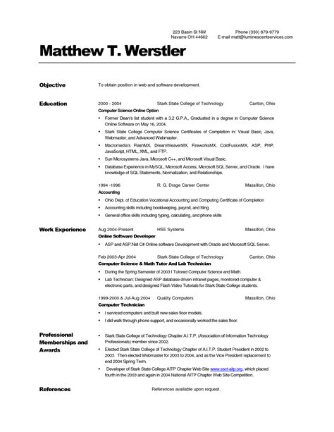 computer operator resume sle sle resume for computer science engineering students 56