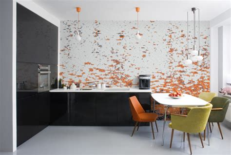 contemporary kitchen wallpaper ideas decoration awesome modern kitchen with mosaic wall murals