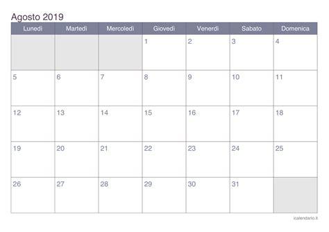 Calendario 2019 Italiano Calendario Agosto 2019 Da Stare Icalendario It