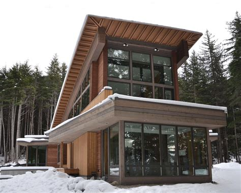 contemporary cabin modern alaskan cabin boasts soaring windows with sharp angular lines and soaring windows this