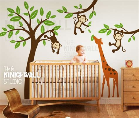 Monkey Curtains Nursery Monkeys With Giraffe Wall Decal Tree Children By Kinkywall