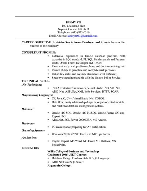 sle resume for dot net developer experience 2 years oracle resume sle 28 images oracle resume sle 28