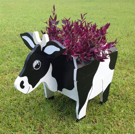 animal planters wooden animal planter cow