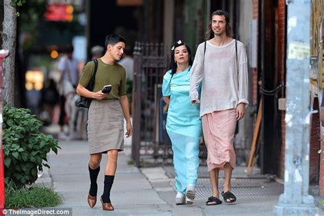 Bjork steps out in NYC in mesh dress and thigh high boots