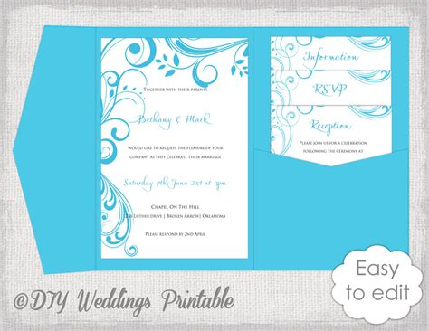 pocketfold wedding invitation template pocket wedding invitation template diy malibu blue pocketfold