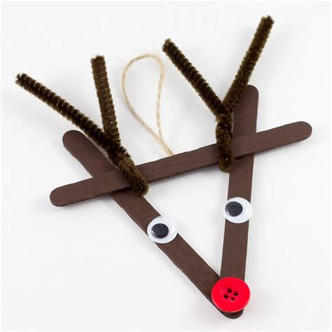 Christmas Ornaments With Popsicle Sticks - craft stick reindeer ornaments