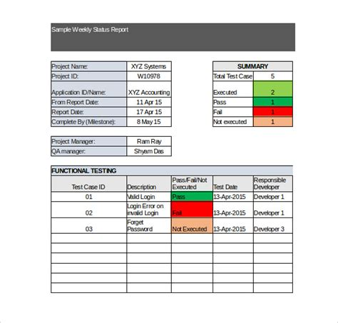 report template exle project weekly status report template excel project