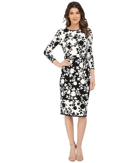 Black And White Patterned Jersey Dress | maggy london floral print matte jersey sheath dress in