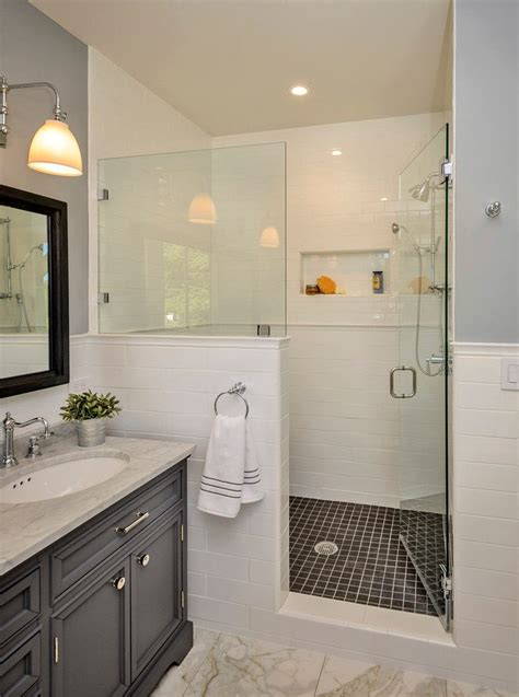 How To Build A Bathroom Shower How To Build A Half Wall Shower Bathroom Traditional With White Wall Tile With Chair Rail White
