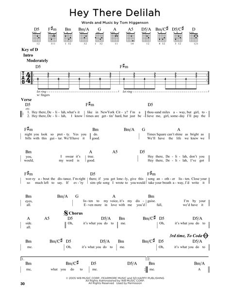 guitar tutorial hey there delilah hey there delilah sheet music by plain white t s guitar