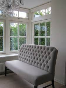 beautiful tufted gray banquette seating to buy for the