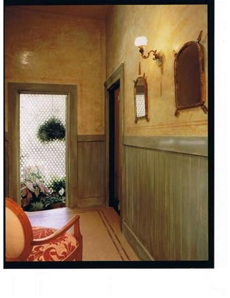 What Paint Finish For Wainscoting by Venetian Plaster Walls With Stenciling Distressed Wood