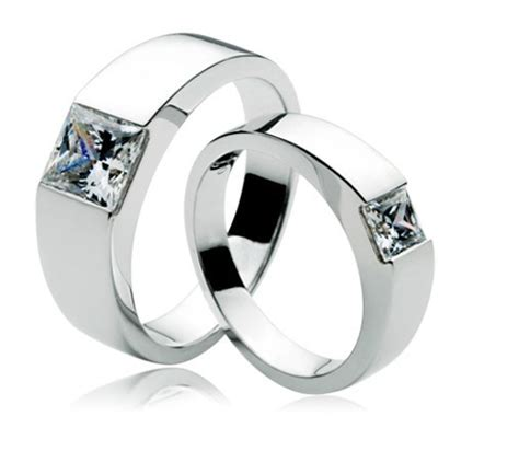 Romantic 1.7ct Couple wedding rings his and hers promise