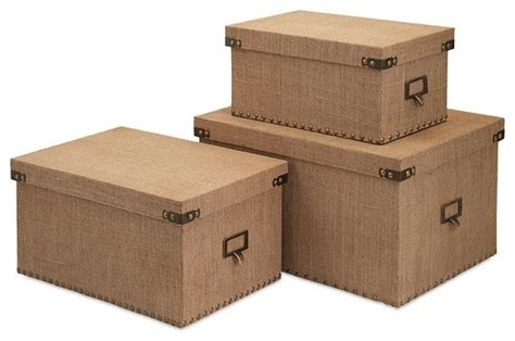 home decor storage boxes masculine industrial burlap corbin storage boxes set of