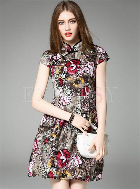 Sleeve Print A Line Dress sleeve patch print a line dress ezpopsy
