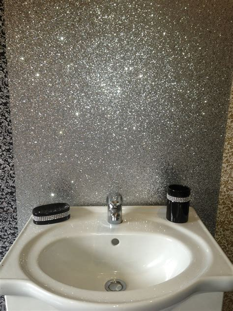 bathroom silver and navy wallpaper navy blue and