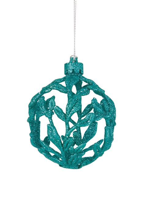 3 x turquoise 3d filigree baubles christmas tree hanging