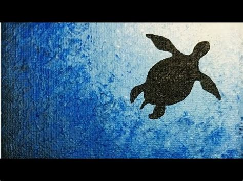sea turtle silhouette painting easy painting youtube