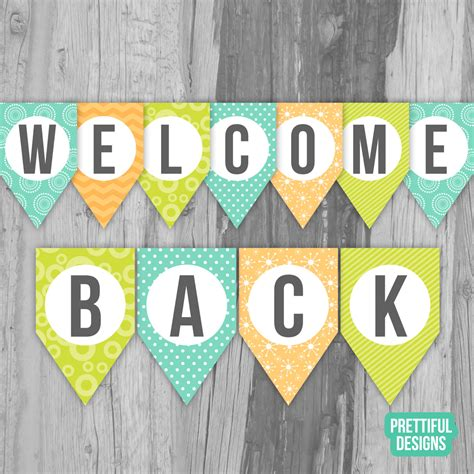 Welcome Back First Day Of School Banner Printable Instant Free Printable Welcome Banner Template