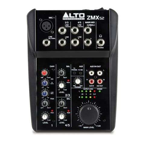 Mixer Alto alto zephyr zmx52 5 channel compact mixer at gear4music