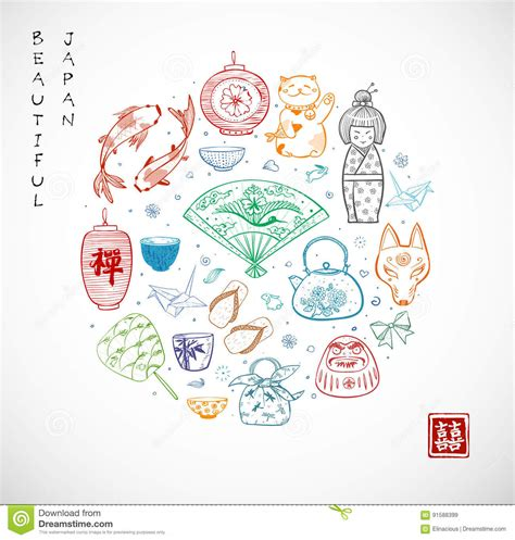 doodle japan japan doodle sketch elements symbols of japan stock