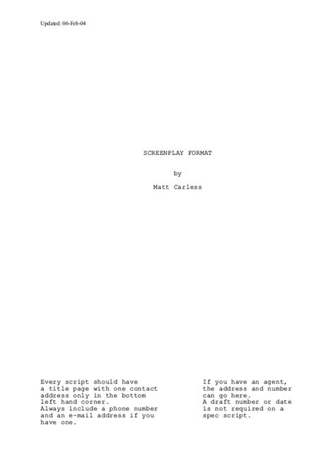 how to set out a screenplay