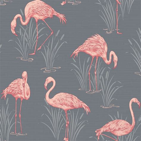 Flamingo Wallpaper Ebay | lagoon flamingo grey coral wallpaper arthouse vintage