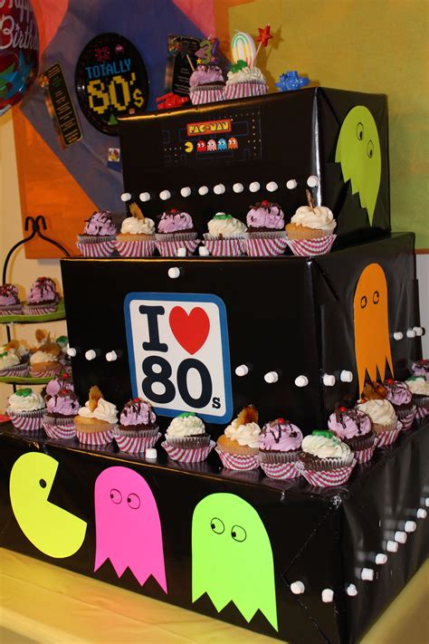 80s arcade party supplies decorations partycheap 80s themed cupcake tower pac man 80 s decade party