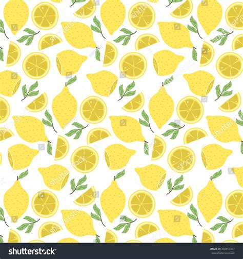cute lemon pattern cute pattern cartoon lemon lemon slices stock vector