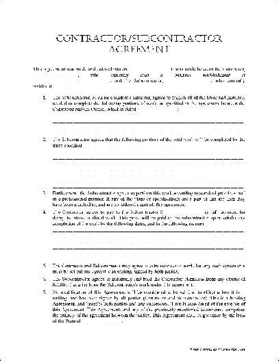 free subcontractor agreement template subcontractor agreement form free printable documents