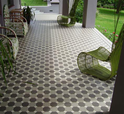 tile patio with winckelmans dot octagon tile pattern