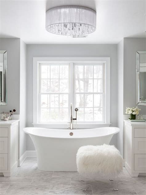 white and gray bathroom glam white master bathroom light gray walls bathroom rennovation white quartz