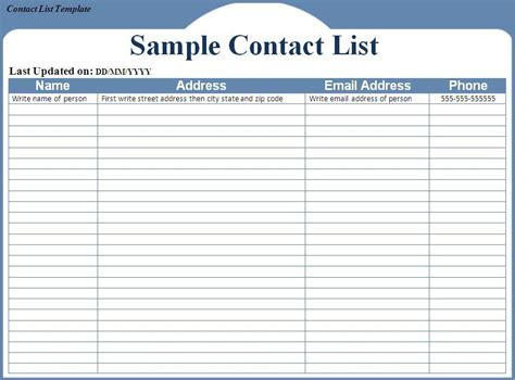 contact list template word excel formats