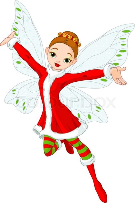 beautiful christmas fairy in flight stock vector colourbox