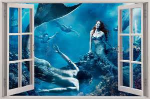 mermaid wall mural 3d window view fantasy mermaids under sea wall sticker