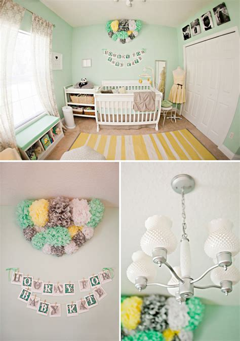 Mint Nursery Decor Kate S Lovely Yellow Mint Green Nursery The Umbrella