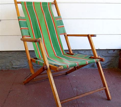 Vintage wood and canvas folding beach chair retro by ineorders