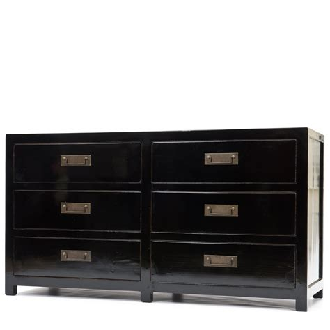 Black Chest Of Drawers by Wide Six Drawer Chest Black Elm Chest Of Drawers Orchid