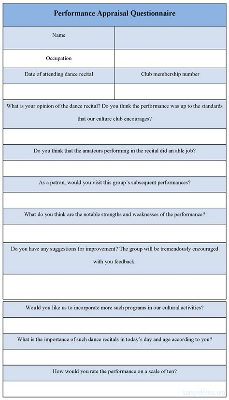 performance survey template performance appraisal format of performance appraisal