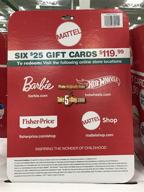 Costco Gift Card Discount - shop mattel costco gift card 20 off stack them coupon take five a day