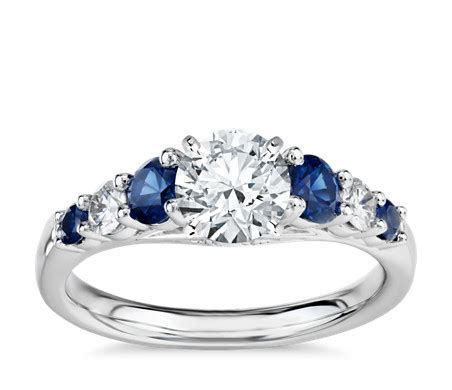 Blue Safir Sapphire 5 5ct graduated sapphire and engagement ring in 14k